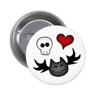 Cute Gothic symbols on white 2 Inch Round Button