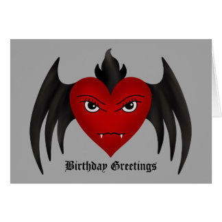 Cute gothic winged vampire heart all occasion greeting cards