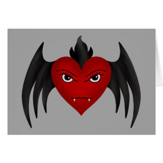 Cute gothic winged vampire heart all occasion greeting card