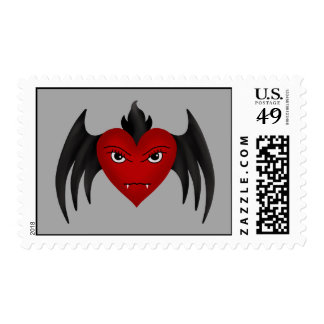 Cute gothic winged vampire heart postage