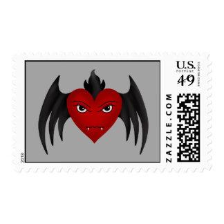Cute gothic winged vampire heart stamp