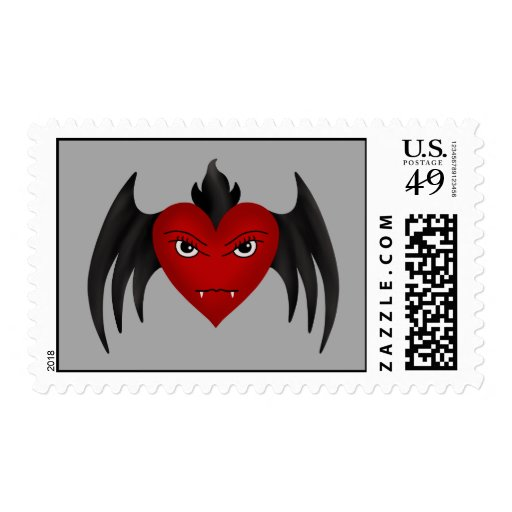 Cute gothic winged vampire heart postage stamp