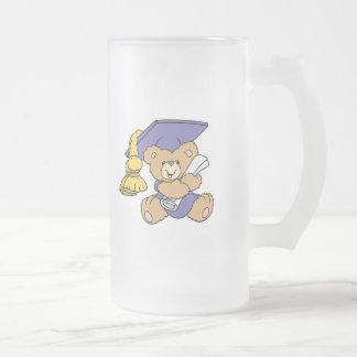 Cute Graduate Graduation Bear Frosted Glass Beer Mug