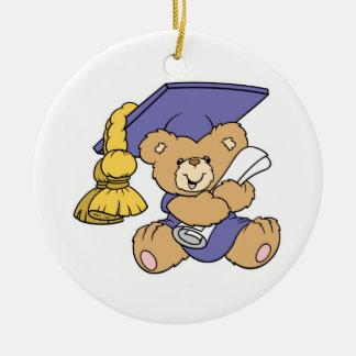Cute Graduate Graduation Bear Double-Sided Ceramic Round Christmas Ornament