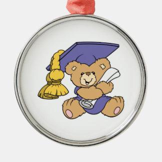 Cute Graduate Graduation Bear Round Metal Christmas Ornament
