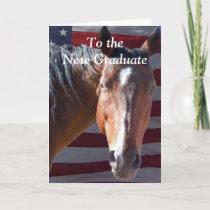Cute Graduate Graduation Horse - Ranch Farm Card