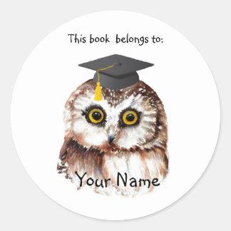 Cute Graduation Bird This book belongs Bookplate Classic Round Sticker