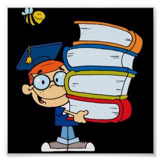 cute graduation boy kid with books cartoon poster