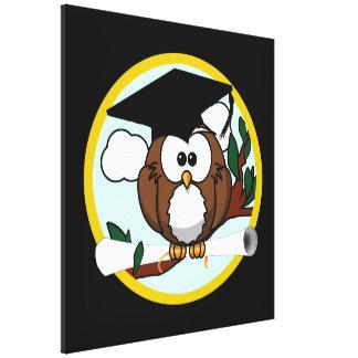 Cute Graduation Owl With Cap & Diploma on Black Canvas Print