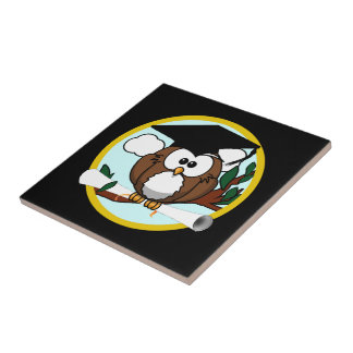 Cute Graduation Owl With Cap & Diploma on Black Ceramic Tile