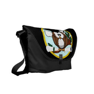 Cute Graduation Owl With Cap & Diploma on Black Courier Bag