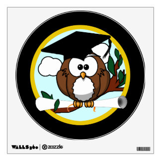 Cute Graduation Owl With Cap & Diploma on Black Wall Stickers