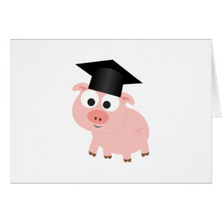 Cute Graduation Pig Stationery Note Card