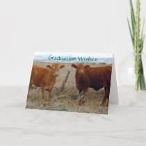 Cute Graduation - Red Cow Animal Humor - Ranch Card