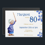 "Cute grandmother with cane 80th birthday magnetic invitation<br><div class=""desc"">Cute invitation in form of magnet to celebrate your grandmother or mother birthday. The illustration represents an old woman holding a cane in a happy posture. Personalize the invitation with your own information. Click in customize further to make more changes. Illustrated and designed by Patricia Alvarez.</div>"