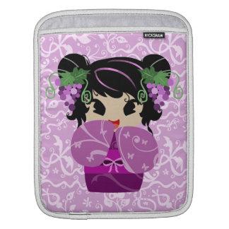 Cute Grape Kokeshi Doll iPad Sleeves