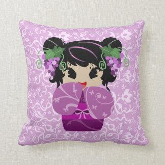 Cute Grape Kokeshi Doll Throw Pillow