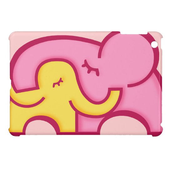 Cute graphic elephants cuddle ipad mini case