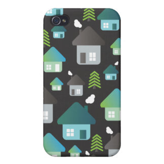 Cute graphic iphone case tree and homes pattern iPhone 4 case
