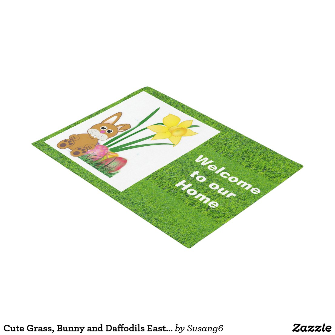 Cute Grass, Bunny and Daffodils Easter Doormat