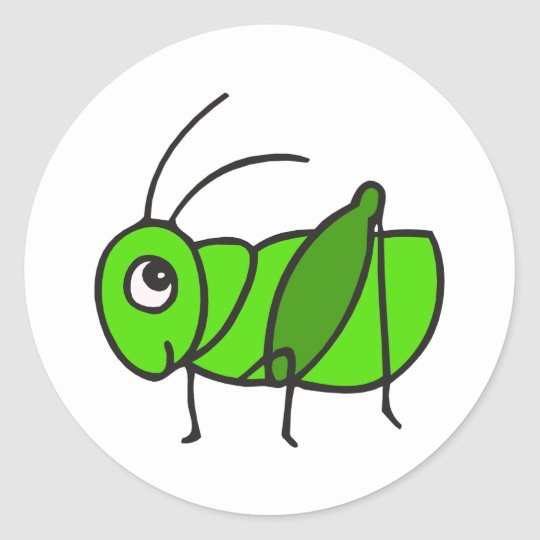 Aninimal Book: Cute Grasshopper Classic Round Sticker | Zazzle.com
