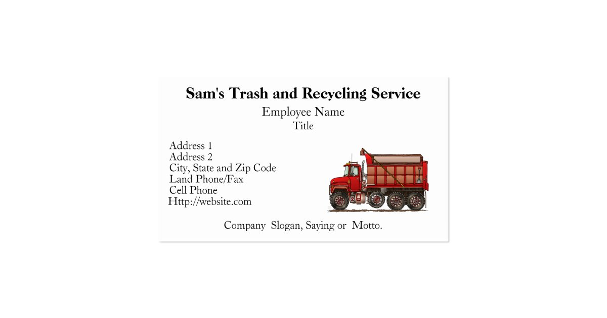 Cute gravel dump truck business card zazzle for Where can i use my synchrony home design card