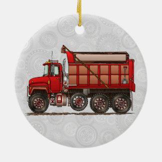 Cute Gravel Dump Truck Ceramic Ornament