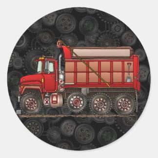 Cute Gravel Dump Truck Classic Round Sticker