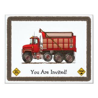 Cute Gravel Dump Truck Custom Invitations