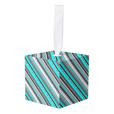 Aztec Themed Cute gray aqua aztec patterns cube ornament