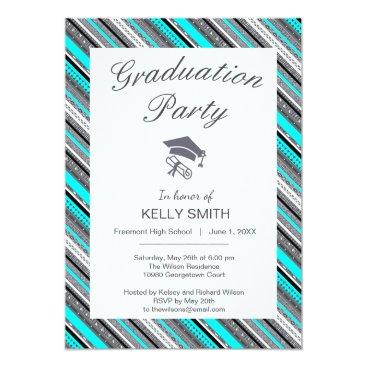 Aztec Themed Cute gray aqua aztec patterns graduation party card