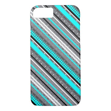 Aztec Themed Cute gray aqua aztec patterns iPhone 7 case