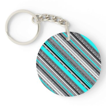 Aztec Themed Cute gray aqua aztec patterns keychain