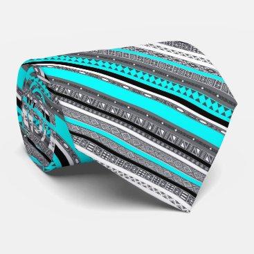 Aztec Themed Cute gray aqua aztec patterns neck tie