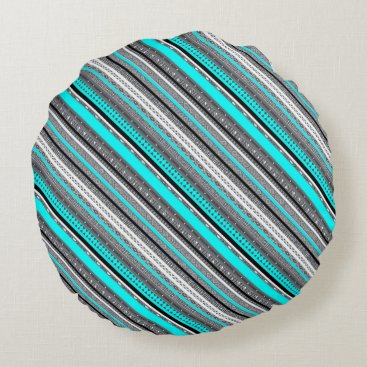 McTiffany Tiffany Aqua Cute gray aqua aztec patterns round pillow
