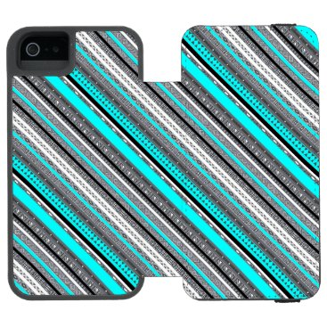 Cute gray aqua aztec patterns wallet case for iPhone SE/5/5s