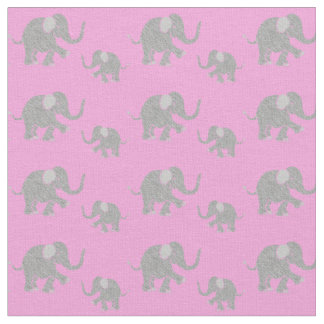 Pink elephant fabric zazzle for Cute baby fabric