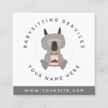 Cute Gray Baby Llama Daycare Childcare Babysitter  Square Business Card