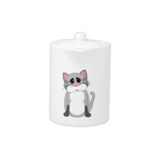 Cute Gray Cat Teapot