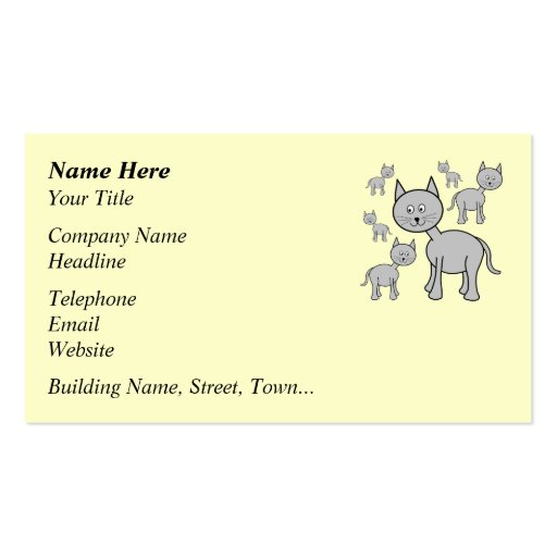 Cute Gray Cats. Cartoon on Cream. Double-Sided Standard Business Cards (Pack Of 100)