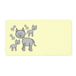 Cute Gray Cats Cartoon on Cream Personalized Shipping Label