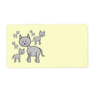 Cute Gray Cats. Cartoon on Cream. Label