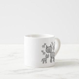 Cute Gray Cats. Cat Cartoon. Espresso Cup