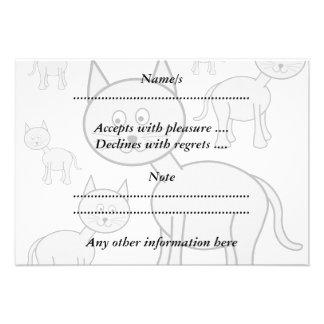 Cute Gray Cats Cat Cartoon Custom Invites