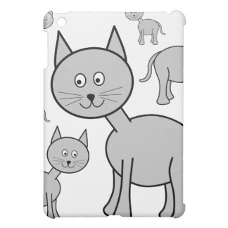 Cute Gray Cats. Cat Cartoon. iPad Mini Covers