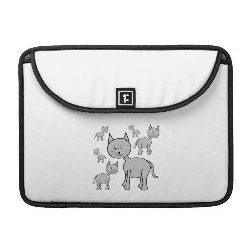 Cute Gray Cats. Cat Cartoon. Sleeve For MacBook Pro