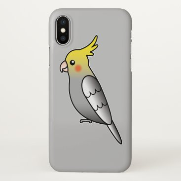 Beach Themed Cute Gray Cockatiel Cartoon Bird Illustration iPhone X Case