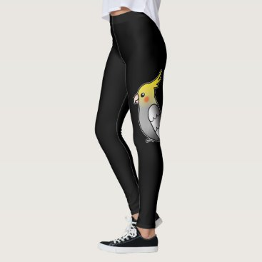Beach Themed Cute Gray Cockatiel Cartoon Bird Illustration Leggings