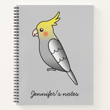 Beach Themed Cute Gray Cockatiel Cartoon Bird Illustration Notebook