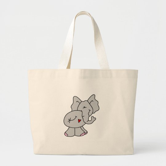 Cute Gray Elephant Large Tote Bag